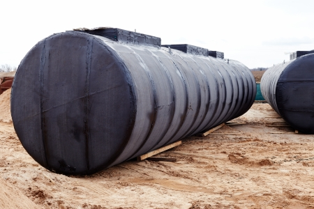 Construction of a gas station. Underground storage tank at a construction site.