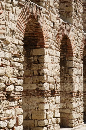 ancient stone wall with arch in Nesebar