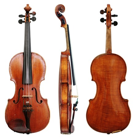 Old Violin isolated on a white background in three projections