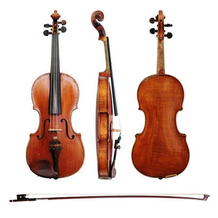 violins: Violins and bow on white background
