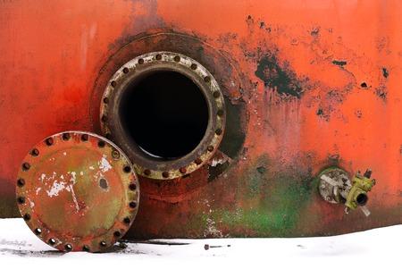 confined: opened rusty manhole