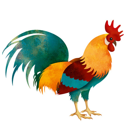 painted Rooster isolated on white