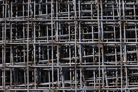 Stack of rebar grids at the construction site photo