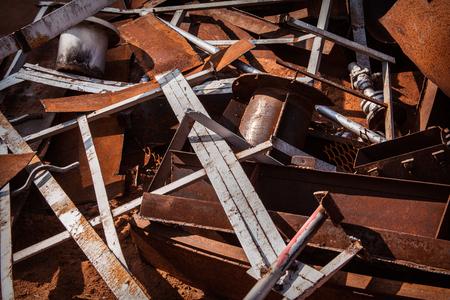 scrap heap: rusty scrap metal close up in heap