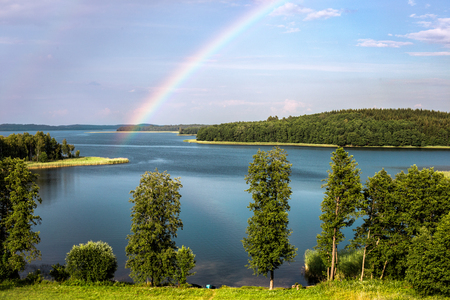 braslav: Rainbow in summer over the Stroust lake in Braslav region of Belarus.