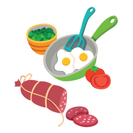 Vector images of breakfast food with omlette and tomates Ilustração