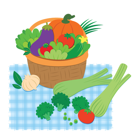 Fresh vegetables in a basket and on a table. Vector Image Stok Fotoğraf
