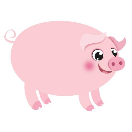 Big Cartoon Pig on white background. Vector Image
