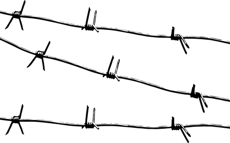 Barbed wire. Black and white pattern vector. Illustration