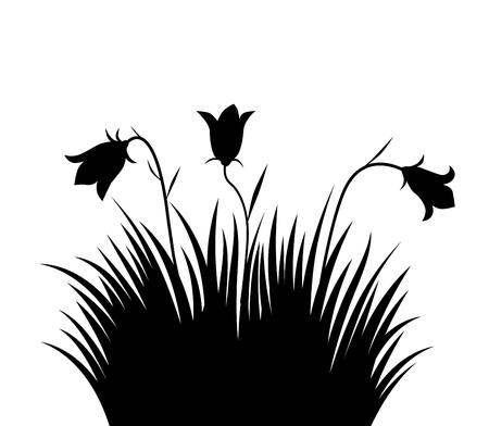Vector illustration grass and flowers background for design use