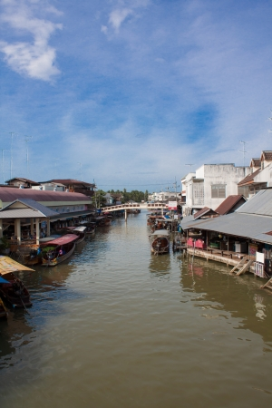floating market on saturday morning in thailand