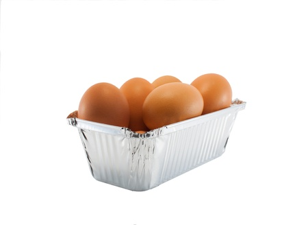 close up shot of cake pan with eggs