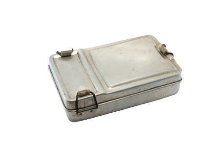 close up shot of old metal lunch box