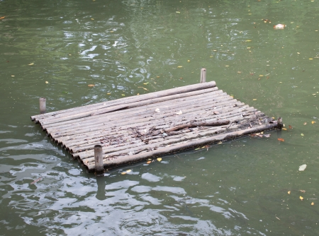 raft for turtle,frog  to relax in park Stock Photo
