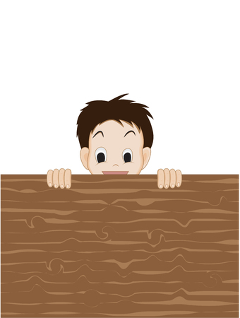woody: Kid with woody blank sign illustration Illustration