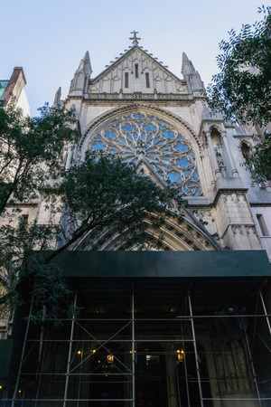New York, USA - September 20, 2015: Reconstruction of Church of the Blessed Sacrament at 152 West 70st Street between Columbus Broadway in New York.