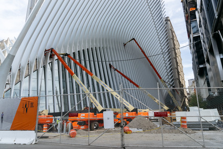 manhattan project: New York, USA - September 21, 2015:  Future Transport Terminal, which is now being built under the project of Calatrava on the site of the World Trade Center in New York City.
