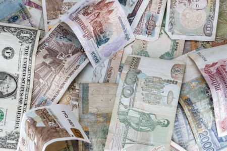 different countries: Background of banknotes from different countries