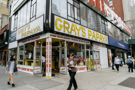 grays: New York, USA - September 22, 2015: Grays Papaya is a hot dog restaurant. Grays Papaya is famous for its inexpensive, high-quality hot dogs.