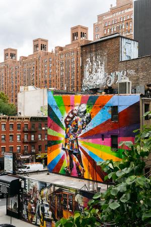 chelsea: New York, USA - September 22, 2015:  Mural art by Brazilian Mural Artist Eduardo Kobra in Chelsea neighborhood in Manhattan.