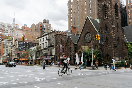 limelight: New York, USA - September 22, 2015:  Limelight Marketplace and Famous Grimaldis Pizzeria on Manhattan in New York. In the past, the Episcopal Church of the Holy Communion.
