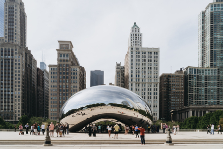 known: Millennium Park, Chicago, USA - September 24, 2015: Cloud Gate, also known as the Bean is one of the parks major attractions.