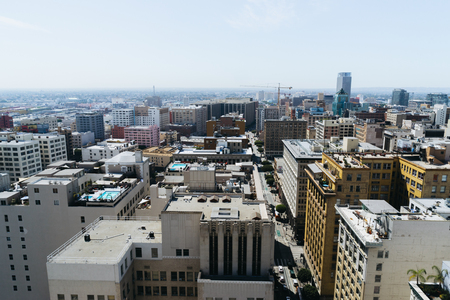 sprawl: Los Angeles, USA - September 26, 2015: View of Los Angeles city from the roof of building. Editorial