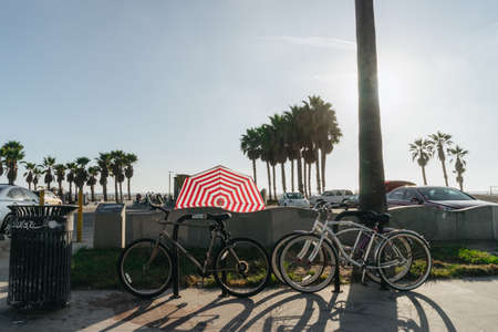 Los Angeles, USA - September 27, 2015: Bicycles stand on Venice beach, California.