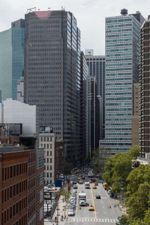New York, USA - September 21, 2015:  View of skyscrapers from Brooklyn Bridge, Downtown, New York.
