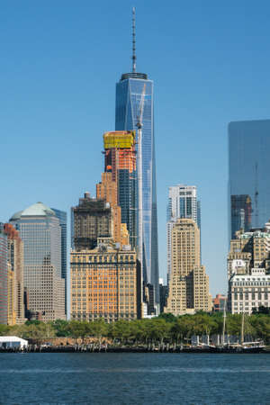 New York, USA - September 23, 2015: View of the world center of Manhattan in New York City from Brooklyn.