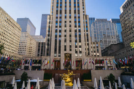 New York, USA - September 23, 2015: Statue of Prometheus at the Lower Plaza of Rockefeller Center in Midtown Manhattan