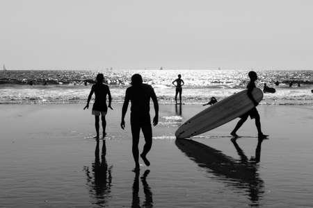 Los Angeles, USA - September 27, 2015: People are walking on Venice beach, California. Editorial