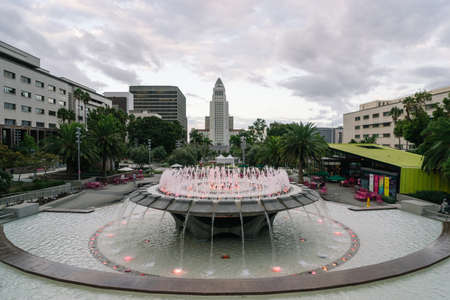 Los Angeles, USA - October 5, 2015: City Hall from Grand Park in downtown Los Angeles on October 5, 2015 in Los Angeles, California