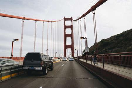 San Francisco, USA - September 30, 2015: Traffic on the Golden Gate bridge in San Francisco. Editorial
