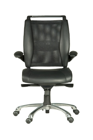 wheeled: Isolated black leather, wheeled chair.