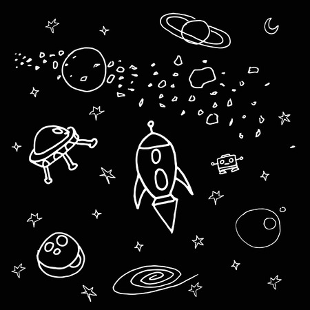 scetch: Different space scetch illustrations on a black background