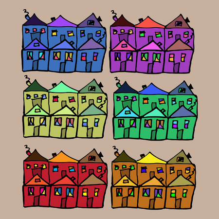 scetch: scetch houses with a different color