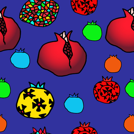 passion ecology: Seamless pattern of diferent pomegranates on a blue background
