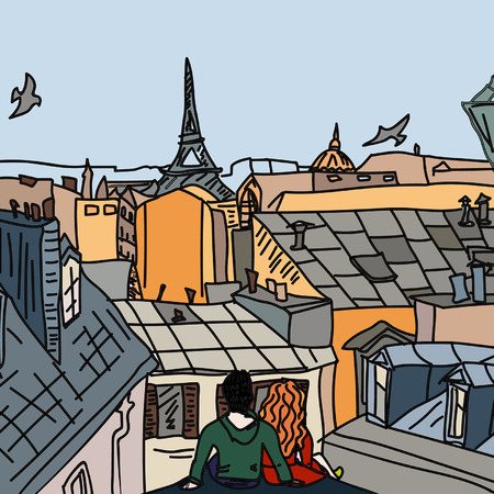 redhair: Young couple in love sitting on the roof in Paris