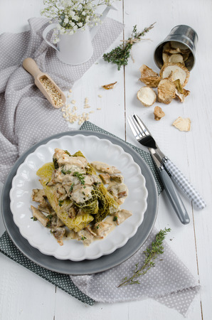 Stuffed cabbage with barley and wild mushrooms photo