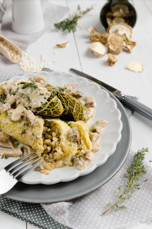 Stuffed cabbage with barley and wild mushrooms