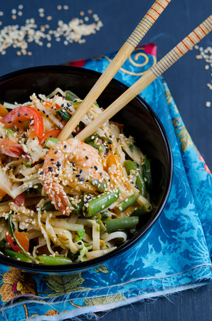 Chinese noodles with season vegetables and shrimp photo