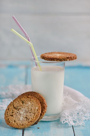 Home made cookies with glass of milk photo