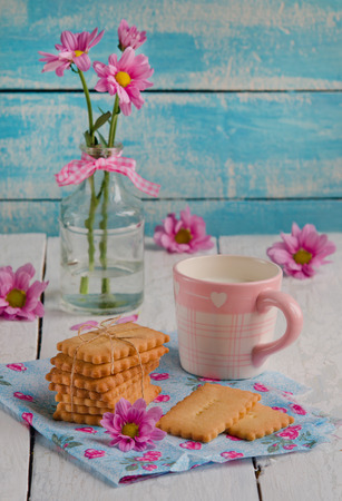 whithe: Homemade shortbread cookies on whithe wooden background