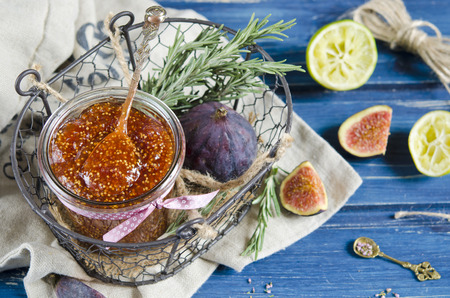 Fig jam with with rosemary and lemon photo