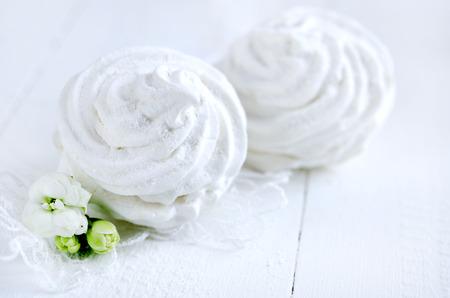 zephyr: Homemade zephyr, russian marshmallows on white background