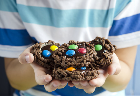Double chocolate chip cookies with colorful candy photo