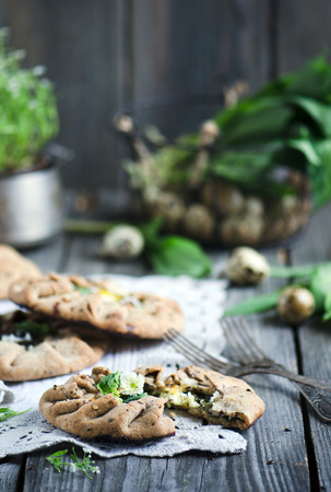 whole wheat: Whole wheat galette with cottage cheese and spinach Stock Photo