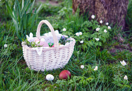 clergyman: Easter basket with food on green grass at sunny day Stock Photo