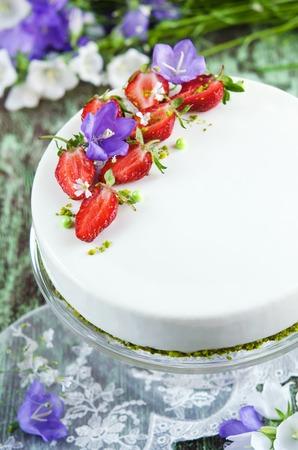 glaze: Strawberry cake with vanilla mousse under the mirror glaze Stock Photo